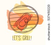 grill illustration with meat.... | Shutterstock . vector #537450220