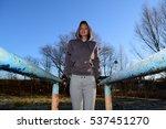 beautiful sports girl is... | Shutterstock . vector #537451270