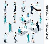 set isometric doctors hospital...   Shutterstock .eps vector #537461389