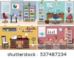 set of modern office interior... | Shutterstock .eps vector #537487234