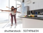 young couple in kitchen  lovers ... | Shutterstock . vector #537496654