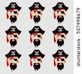 set of cute pirate emoticons.... | Shutterstock .eps vector #537498679