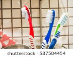 colorful tootbrushes in... | Shutterstock . vector #537504454