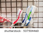 colorful tootbrushes in... | Shutterstock . vector #537504460