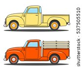 Set Of Color Retro Pickup Truc...