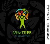 healthy lifestyle logo. human... | Shutterstock .eps vector #537532318