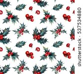 watercolor christmas seamless... | Shutterstock . vector #537534880