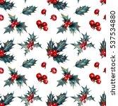 watercolor christmas seamless... | Shutterstock . vector #537534880