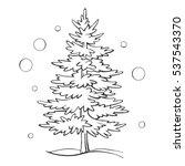 christmas tree sketch symbol... | Shutterstock .eps vector #537543370