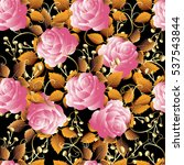 roses seamless pattern. floral... | Shutterstock .eps vector #537543844