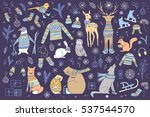 vector hand drawn cute forest... | Shutterstock .eps vector #537544570