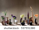 decorative vases and flowers...   Shutterstock . vector #537551380