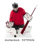 Ice hockey goalie blocking a puck in butterfly style. Photo on white background - stock photo