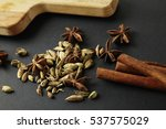 anise and cardamom and cinnamon ... | Shutterstock . vector #537575029