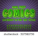 green high detail comic font on ... | Shutterstock .eps vector #537583750