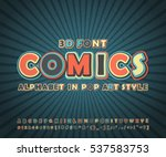 colorful high detail comic font ... | Shutterstock .eps vector #537583753