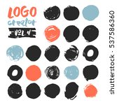 set of 21 unique ink sketched... | Shutterstock .eps vector #537586360