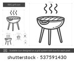 bbq grill vector line icon... | Shutterstock .eps vector #537591430