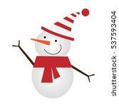 vector illustration of a snowman | Shutterstock .eps vector #537593404