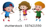 three kids singing on... | Shutterstock .eps vector #537621550