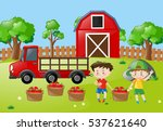 farm scene with two boys with... | Shutterstock .eps vector #537621640