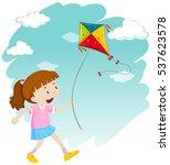 little girl playing kite...   Shutterstock .eps vector #537623578