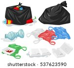 different types of trash and... | Shutterstock .eps vector #537623590