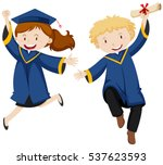 boy and girl in graduation gown ... | Shutterstock .eps vector #537623593