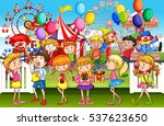 kids having fun at the fun park ...   Shutterstock .eps vector #537623650