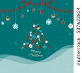 christmas set of icons and... | Shutterstock .eps vector #537623824
