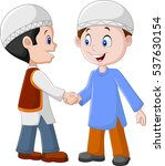 cartoon muslim boys shaking... | Shutterstock .eps vector #537630154