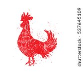 rooster red label. vintage... | Shutterstock . vector #537645109