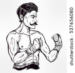hand drawn boxer fighter ... | Shutterstock .eps vector #537656080