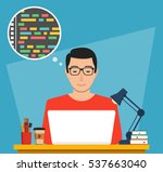 man is working with laptop.... | Shutterstock .eps vector #537663040