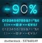 turquoise neon light numbers... | Shutterstock .eps vector #537668149