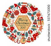 christmas greeting card with... | Shutterstock .eps vector #537673300