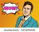 pop art surprised businessman