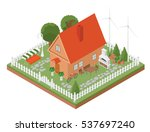 flat 3d isometric house and... | Shutterstock .eps vector #537697240