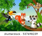 Stock vector cartoon forest scene with different animals 537698239