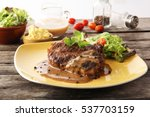the steak set with the black... | Shutterstock . vector #537703159