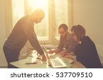 group of people discussing... | Shutterstock . vector #537709510