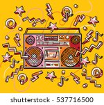funky colorful drawn boombox | Shutterstock .eps vector #537716500