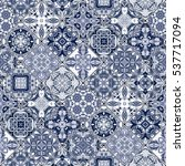 vector set of mosaic blue and... | Shutterstock .eps vector #537717094