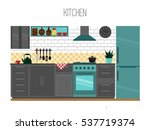 kitchen interior. vector... | Shutterstock .eps vector #537719374