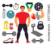weighlifting athlete set.... | Shutterstock .eps vector #537720460