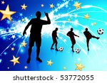 soccer player on abstract blue... | Shutterstock .eps vector #53772055