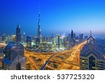 dubai skyline at sunset with... | Shutterstock . vector #537725320