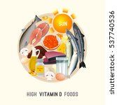 vitamin d in food. beautiful... | Shutterstock .eps vector #537740536