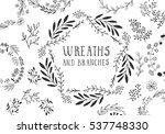 set of hand drawn wreaths.... | Shutterstock .eps vector #537748330