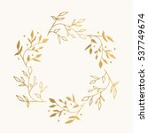 gold floral round frame. vector.... | Shutterstock .eps vector #537749674